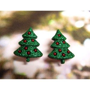 Christmas Trees W/Glitter Repurposed Post Earrings